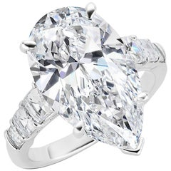 8.25 Carat GIA certified VVS2 D Pear Shape Diamond Ring