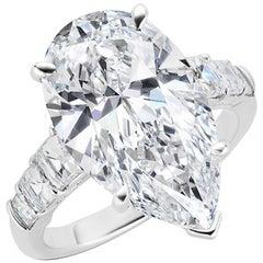 GIA Certified 8.25 Carat VVS2 D Pear Shape Diamond Platinum Engagement Ring
