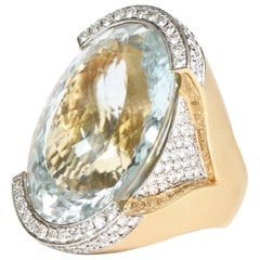 Custom Large Aquamarine and Diamond & 18 Karat Gold Cocktail Ring / SUMMER SALE