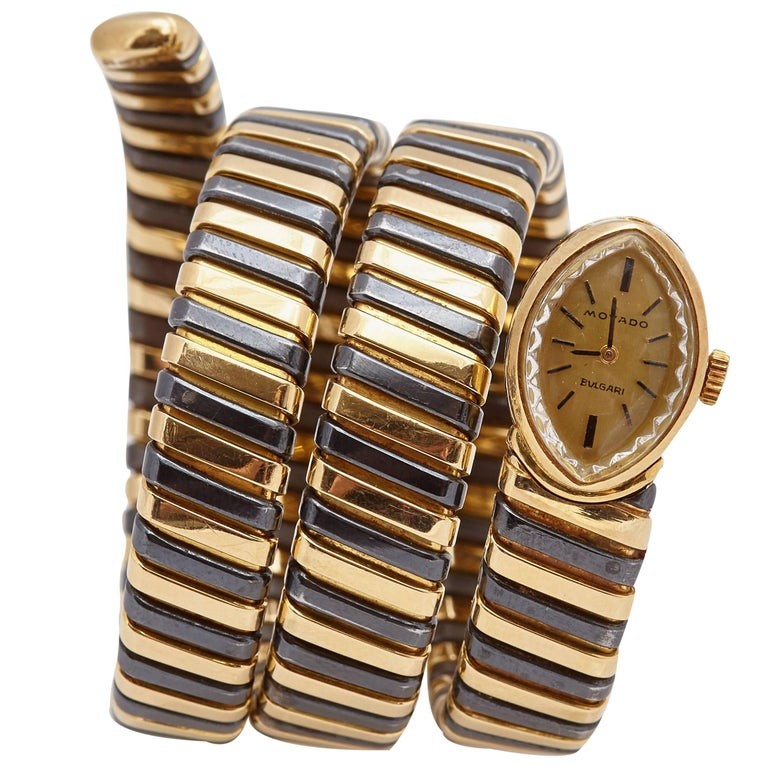 Unusual Black Yellow Bulgari Tubogas Ladies Watch For Sale