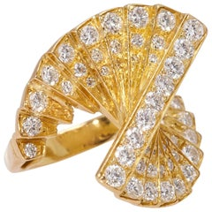 Diamond Gold Spiral Ring