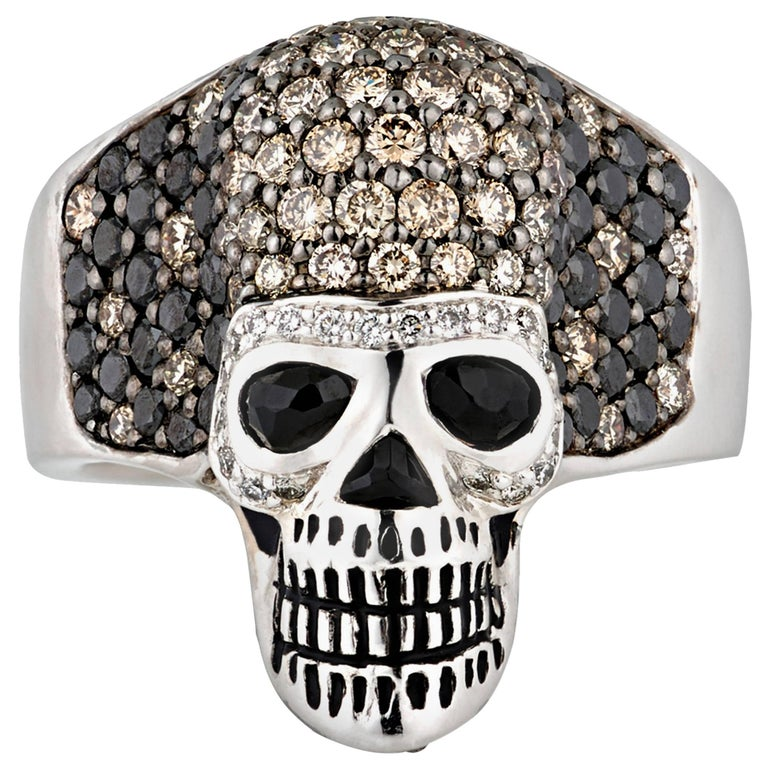 Diamond and Spinel Skull Ring