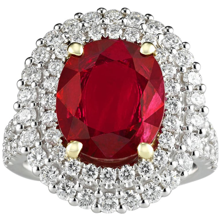 Burma Ruby and Diamond Ring, 3.95 Carat For Sale