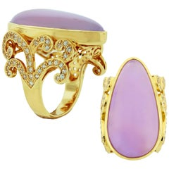 Handmade One of a Kind Crevoshay Agate and Zircon Ring