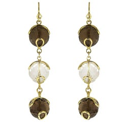 Carina Triple Earrings with Smokey Topaz and Crystal Balls
