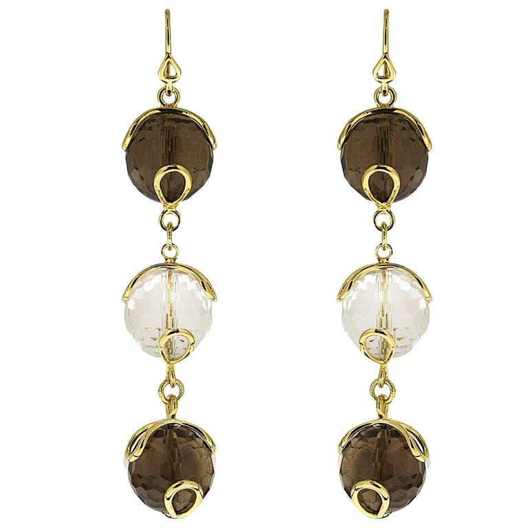 Valentin Magro Carina Triple Earrings with Smokey Topaz and Crystal Balls For Sale