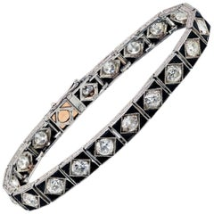 French Art Deco Diamond Onyx Platinum Bracelet