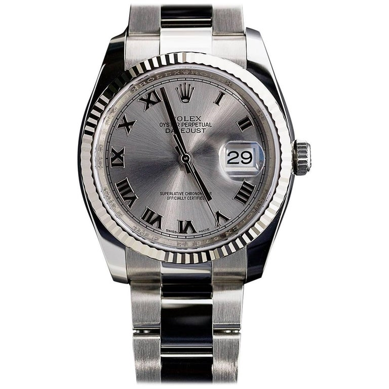 Rolex White Gold Stainless Steel Datejust Roman Dial Wristwatch