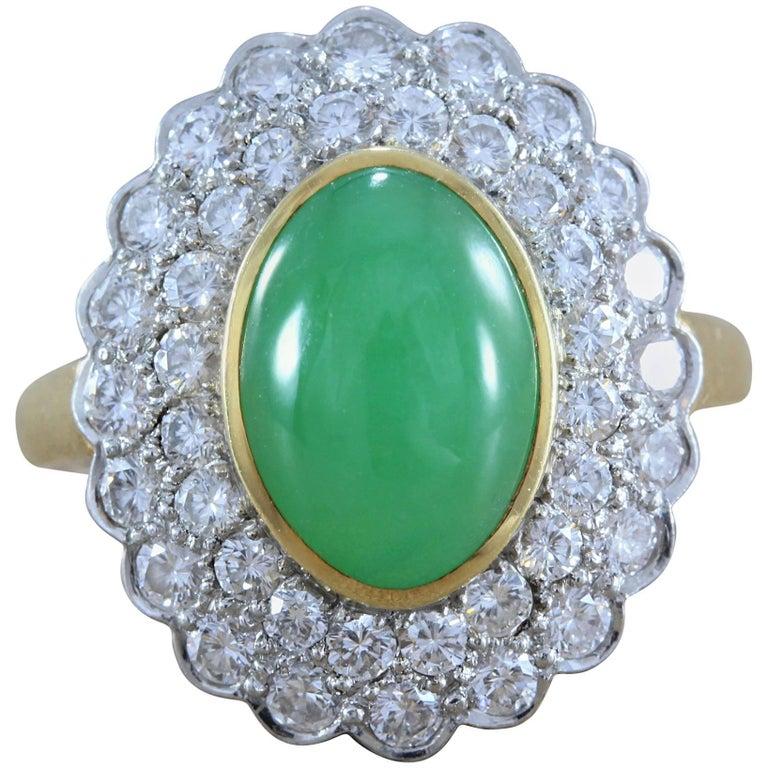 Gumps Jadeite Jade Diamond Gold Ring