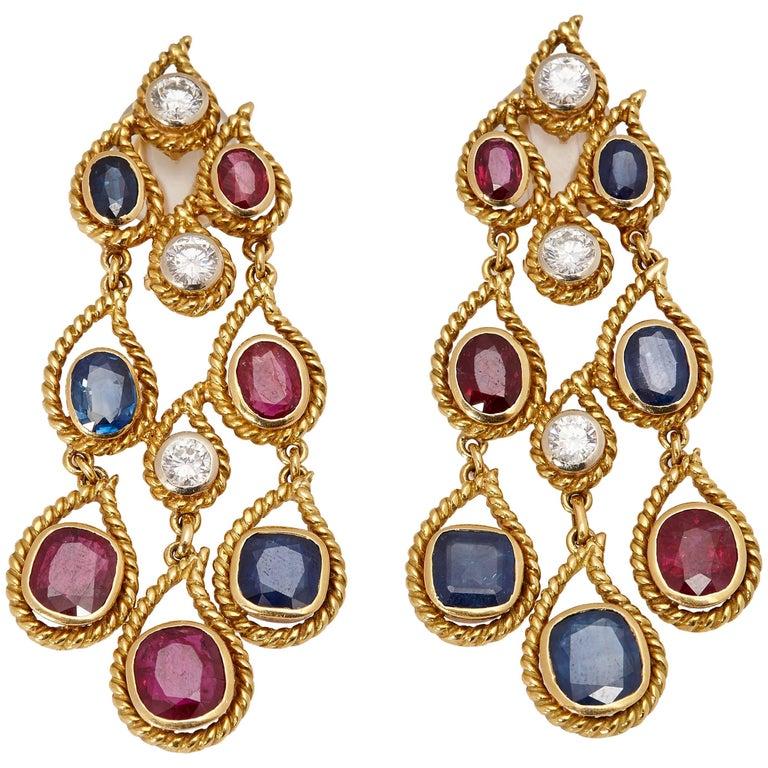 Ruby Sapphire Diamond Ear Pendants