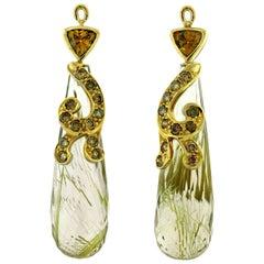 One of a Kind Crevoshay Rutilated Quartz, Diamond and Garnet Earring Drops