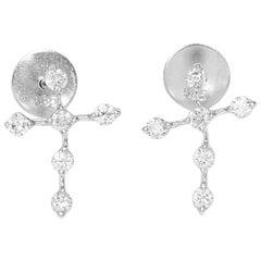14 Karat White Gold Diamond Cross Earrings