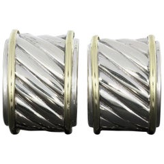David Yurman Two-Tone Gold and Silver Cable Hoop Earrings