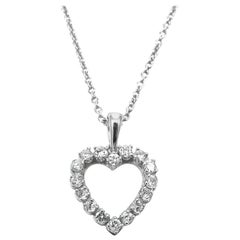 0.96 Carat Total Diamond and White Gold Heart Pendant Necklace