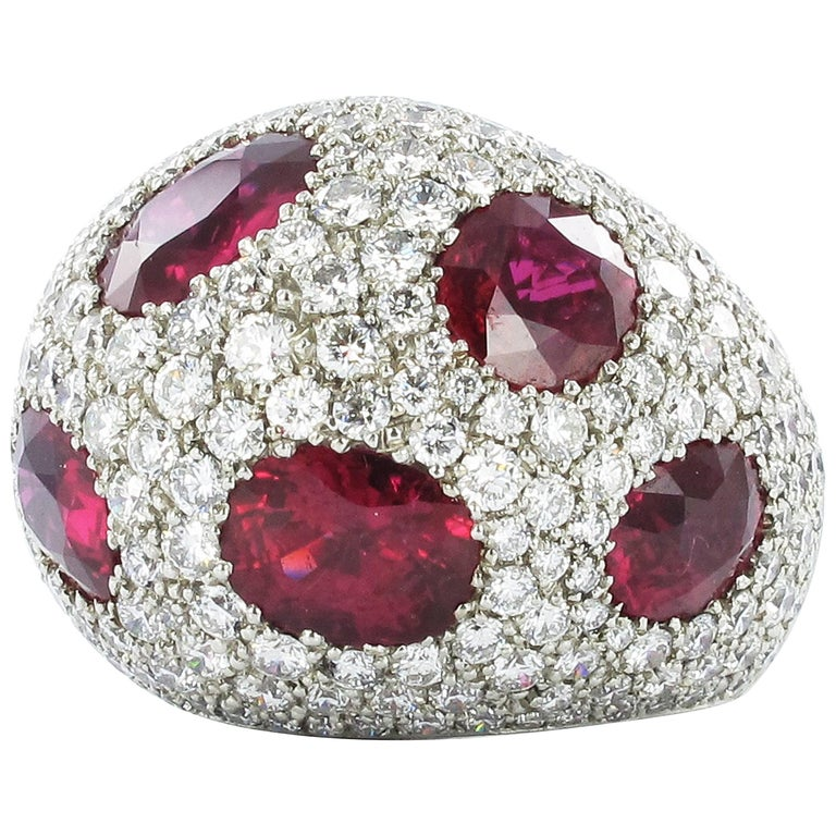 Certified Ruby and Diamond Platinum Cocktail Ring