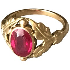 Georg Jensen 18 Karat Gold Ring with Synthetic Ruby No. 208