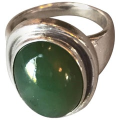 Georg Jensen Ring, No. 46A with Jadeite Cabochon Stone by Harald Nielsen