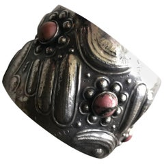Unique Repousse 900 Silver Cuff with Rhodonite Cabochons, circa 1920s