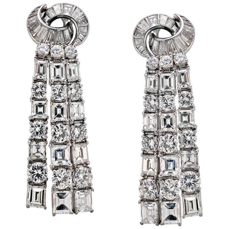 Waterfall Estate Diamond Hanging Earrings