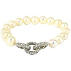 Decadent Jewels Fresh Water Pearl Rhodium CZ Bracelet