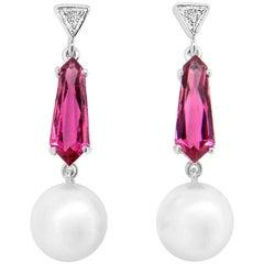 South Sea Pearl Pink Tourmaline  Diamond Drop Earrings