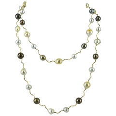 Decadent Jewels Tahitian South Sea Pearl Long Gold Necklace