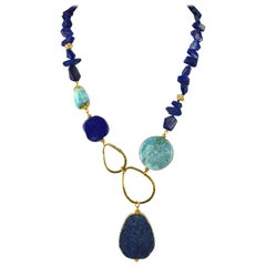Decadent Jewels Lapis Lazuli Peruvian Opal Gold Necklace
