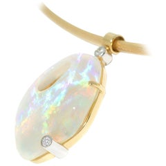 Australian Crystal Opal and Diamond One-of-a-Kind Necklace