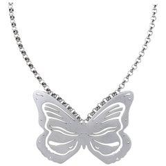 Lizunova Sterling Silver and Diamond Butterfly Pendant Necklace