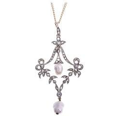 Victorian Diamond and Cultured Pearl Pendant