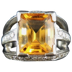 French White Gold Citrine, and Diamonds Ring