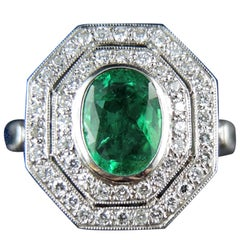 French Emerald Diamond Engagement Cluster Ring