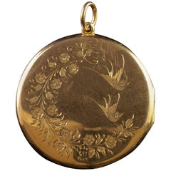 Antique Victorian Rose Gold Locket Love Bird Scene