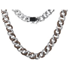 Carlos Udozzo 18 Karat White Gold Rhodium Brown Diamond Necklace