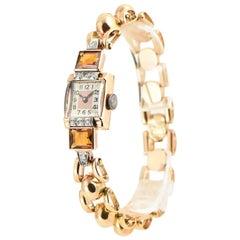 Ladies Pink Gold Diamond Citrine Wristwatch, circa 1940s
