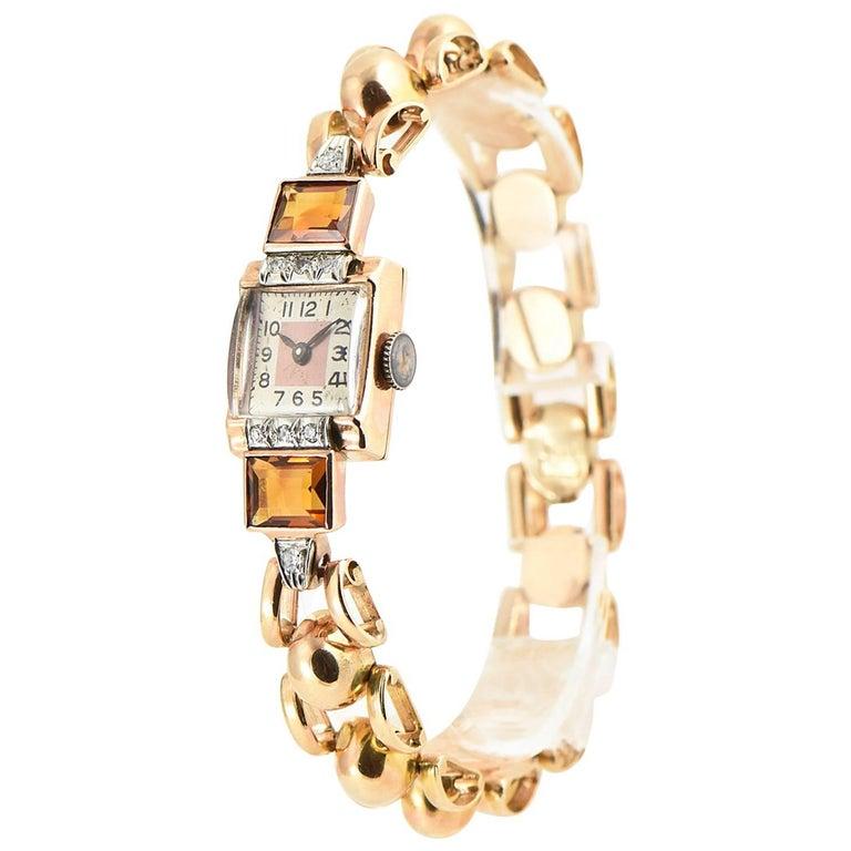 Retro Ladies Rose Gold Diamond Citrine Wristwatch, Circa 1940s For Sale