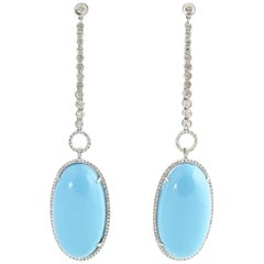 Turquoise Diamond White Gold Drop Cocktail Earrings