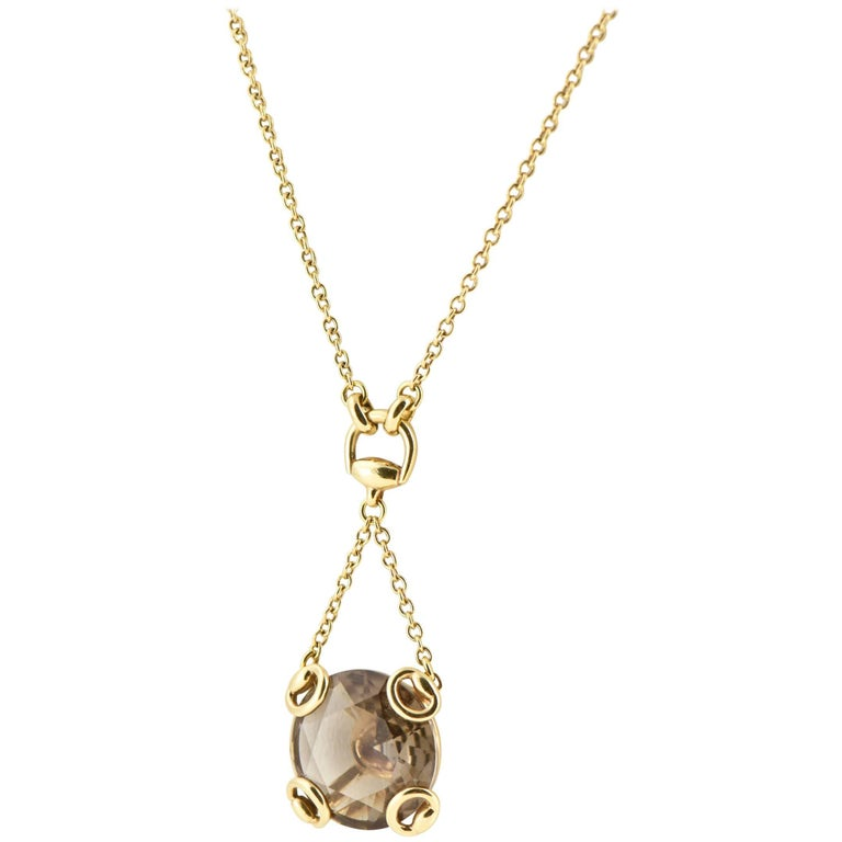 Gucci Smoky Quartz Gold Horsebit Necklace