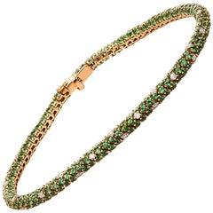 Carlos Udozzo 18 Karat Rose Gold Unisex Green Tsavorite and Diamond Bracelet