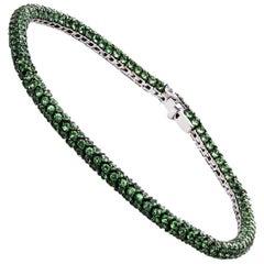 Carlos Udozzo 18 Karat White Gold Green Tsavorite Bracelet
