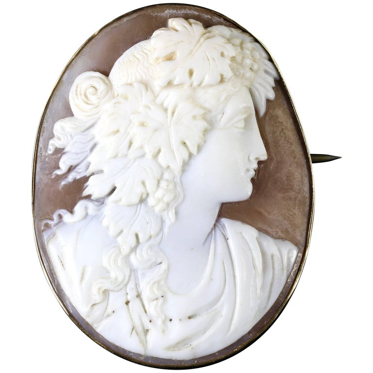 Antique Victorian Shell Portrait Cameo Brooch 9 Carat Gold