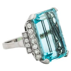 20 Carat Aquamarine and Diamond Cocktail Ring