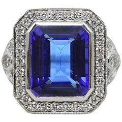 7.03 Carat Tanzanite and Diamond White Gold Ring
