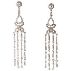 6.3 Carat Diamond and 18 Karat Gold Chandelier Earrings