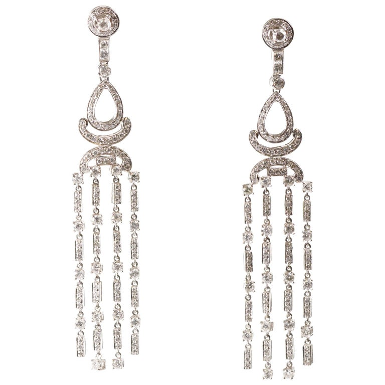 6.3 Carat Diamond and 18 Karat Gold Chandelier Earrings
