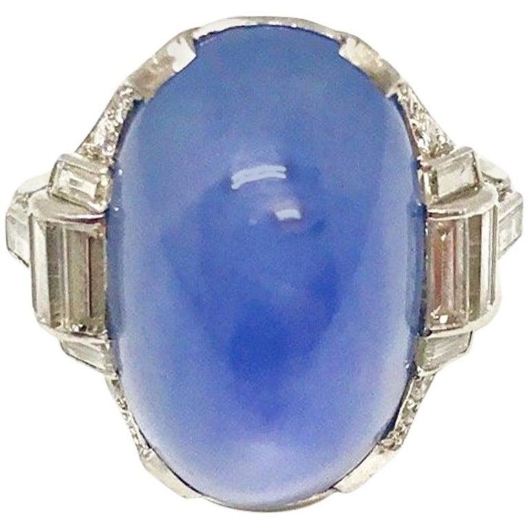 Spectacular Oscar Heyman Diamond and Star Sapphire Art Deco Ring