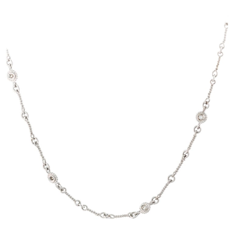 16 Inch Diamond and 18K Gold Wire Turned Link Necklace