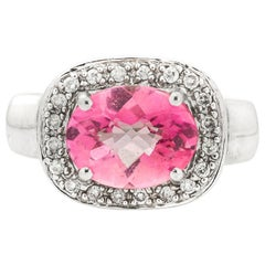 3 Carat Pink Topaz with Diamond Halo and 14K Gold Ring