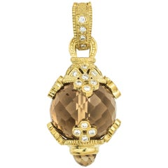 Citrine and Diamond 18K Gold Pendant Charm