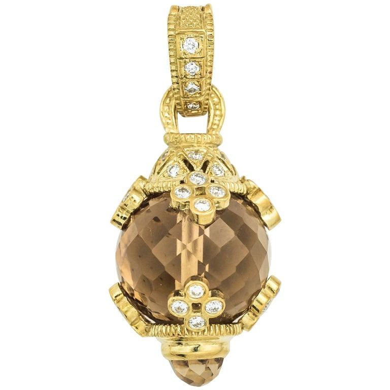 Citrine and Diamond 18K Gold Pendant Charm
